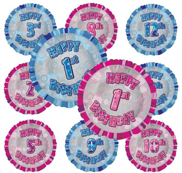 Glitz Numerical Happy Birthday Round Foil Bouquet